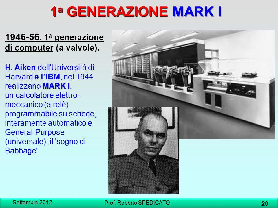 1 a GENERAZIONE MARK I 1946-56, 1 a generazione di computer (a valvole). MARK I H. Aiken dell'Università di Harvard e l'IBM, nel 1944 realizzano MARK