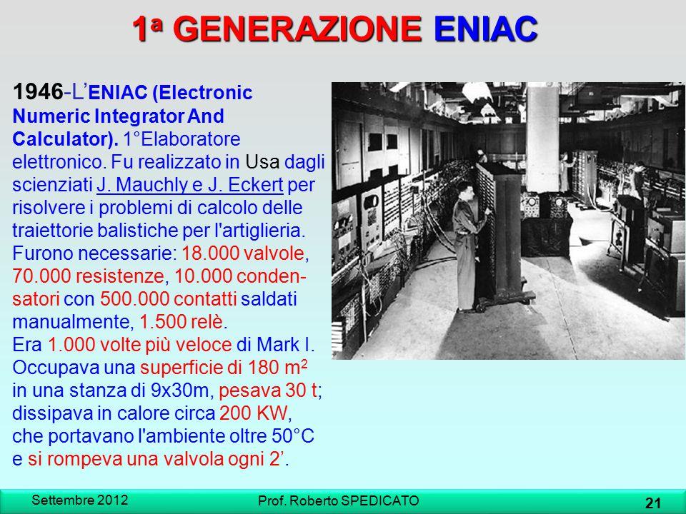 1 a GENERAZIONE ENIAC 1946-L' ENIAC (Electronic Numeric Integrator And Calculator). 1°Elaboratore elettronico. Fu realizzato in Usa dagli scienziati J