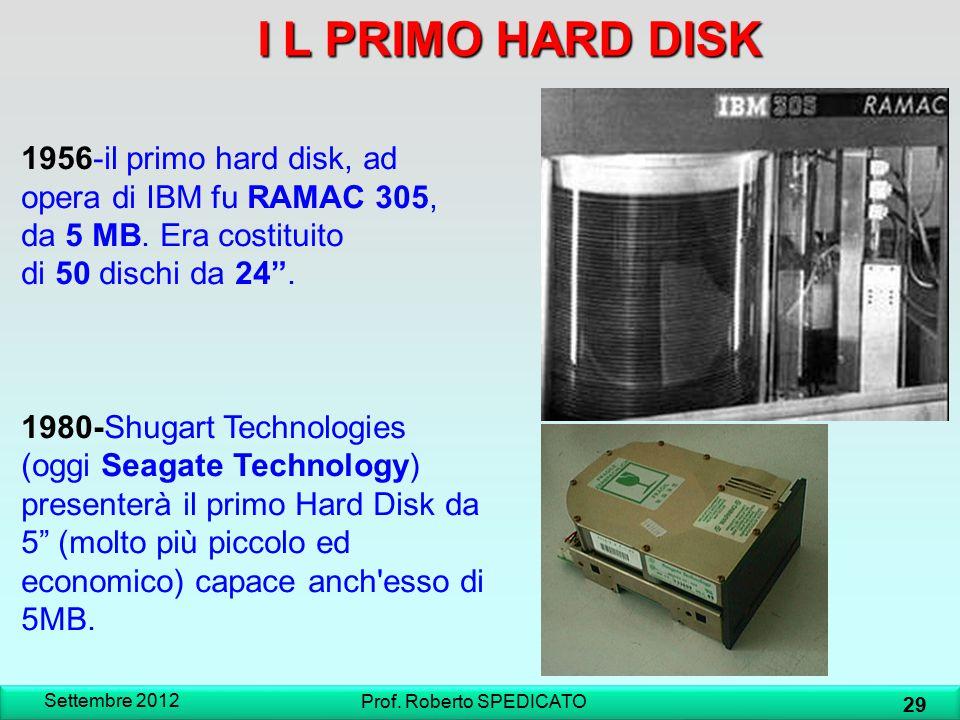 IL PRIMO HARD DISK I L PRIMO HARD DISK Settembre 2012 29 Prof. Roberto SPEDICATO 1956-il primo hard disk, ad opera di IBM fu RAMAC 305, da 5 MB. Era c