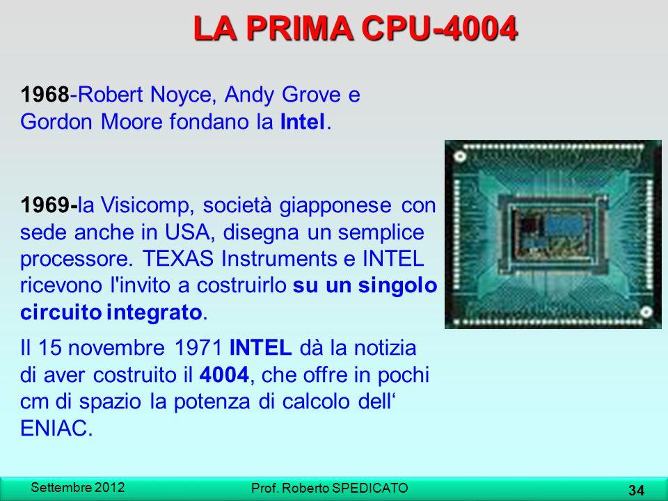 LA PRIMA CPU-4004 Settembre 2012 34 Prof. Roberto SPEDICATO 1969-la Visicomp, società giapponese con sede anche in USA, disegna un semplice processore