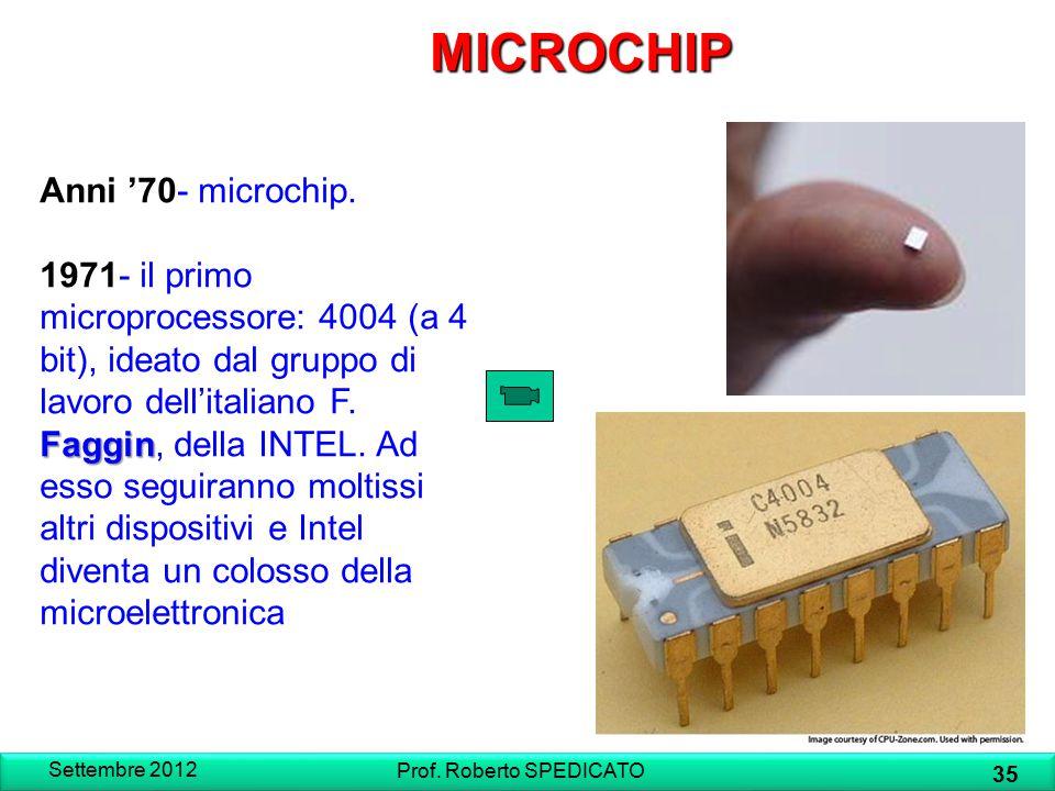 MICROCHIP Anni '70- microchip. Faggin 1971- il primo microprocessore: 4004 (a 4 bit), ideato dal gruppo di lavoro dell'italiano F. Faggin, della INTEL