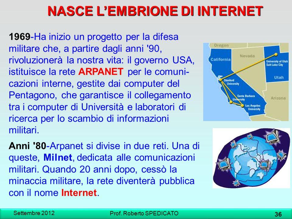 NASCE L'EMBRIONE DI INTERNET Settembre 2012 36 Prof. Roberto SPEDICATO 1969-Ha inizio un progetto per la difesa militare che, a partire dagli anni '90