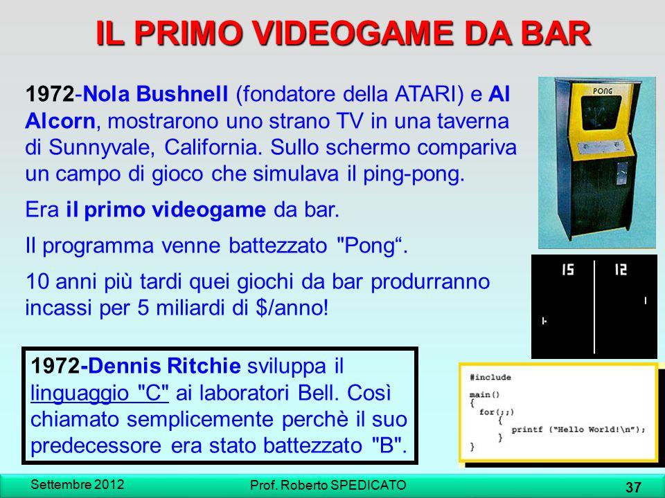 IL PRIMO VIDEOGAME DA BAR Settembre 2012 37 Prof. Roberto SPEDICATO 1972-Nola Bushnell (fondatore della ATARI) e Al Alcorn, mostrarono uno strano TV i