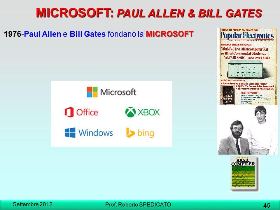 Settembre 2012 45 Prof. Roberto SPEDICATO MICROSOFT 1976-Paul Allen e Bill Gates fondano la MICROSOFT MICROSOFT: PAUL ALLEN & BILL GATES