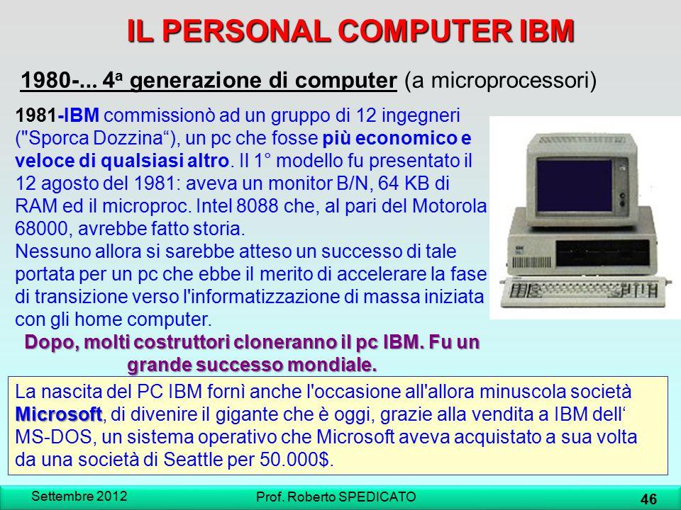Settembre 2012 46 Prof. Roberto SPEDICATO IL PERSONAL COMPUTER IBM 1980-... 4 a generazione di computer (a microprocessori) 1981-IBM commissionò ad un