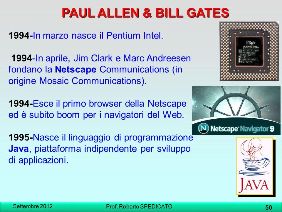 Settembre 2012 50 Prof. Roberto SPEDICATO PAUL ALLEN & BILL GATES 1994-In marzo nasce il Pentium Intel. 1994-In aprile, Jim Clark e Marc Andreesen fon