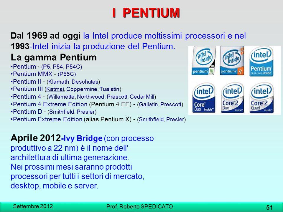 Settembre 2012 51 Prof. Roberto SPEDICATO I PENTIUM Aprile 2012 -Ivy Bridge (con processo produttivo a 22 nm) è il nome dell' architettura di ultima g