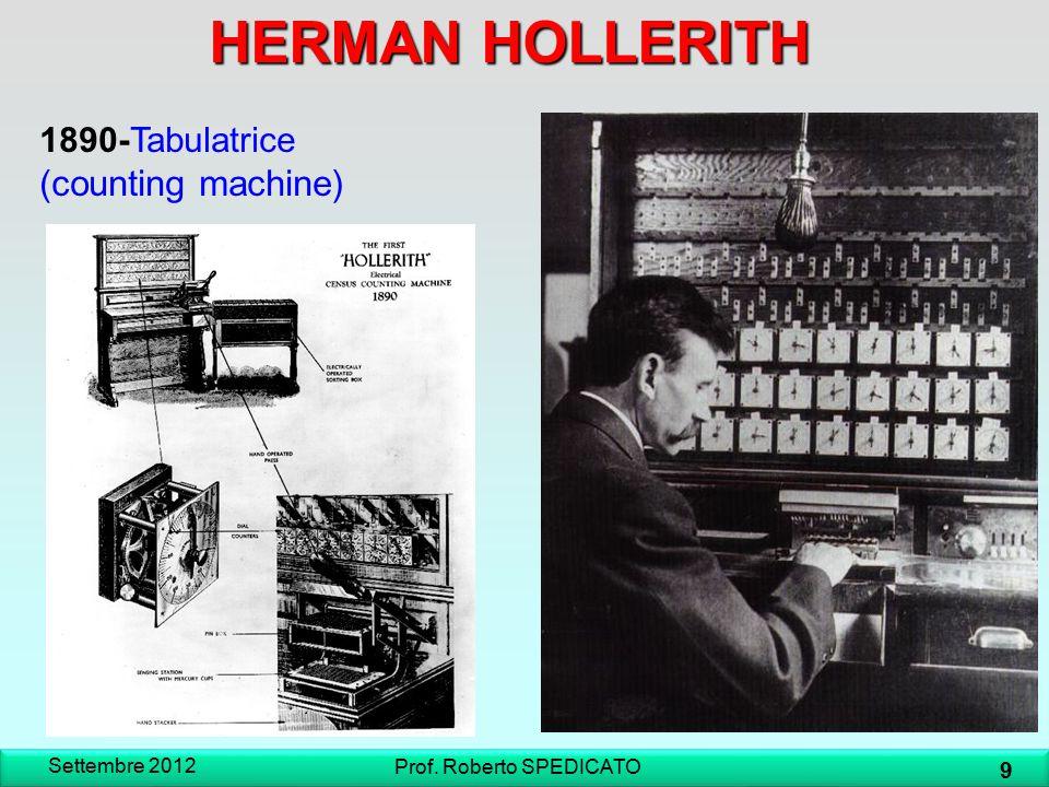 H.Hollerith-Scheda perforata Settembre 2012 10 Prof.