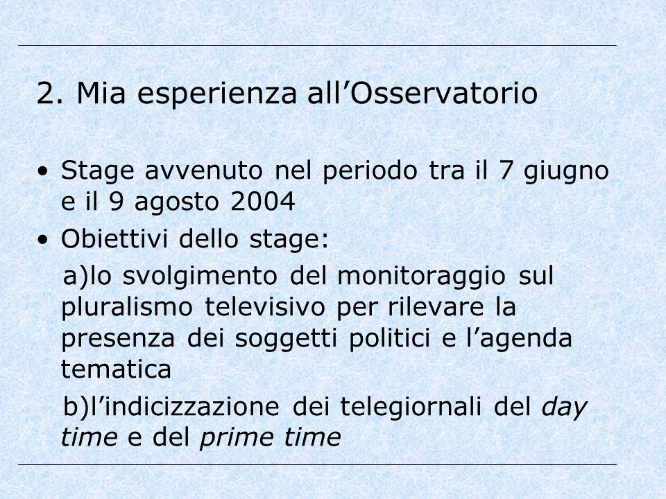 2. Mia esperienza all'Osservatorio Stage avvenuto nel periodo tra il 7 giugno e il 9 agosto 2004 Obiettivi dello stage: a)lo svolgimento del monitorag