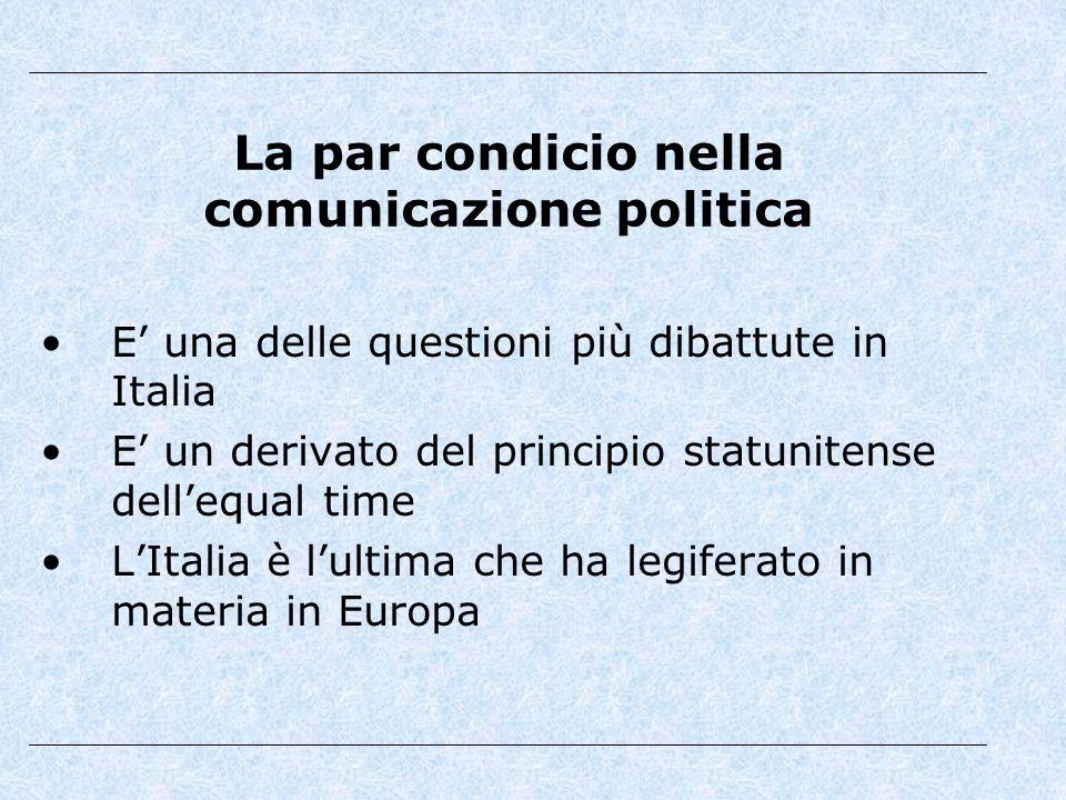 La par condicio nella comunicazione politica E' una delle questioni più dibattute in Italia E' un derivato del principio statunitense dell'equal time L'Italia è l'ultima che ha legiferato in materia in Europa
