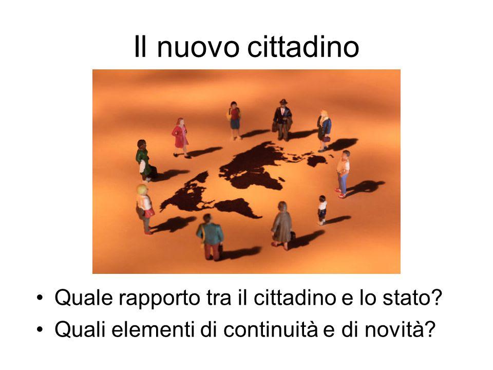 Il nuovo cittadino Quale rapporto tra il cittadino e lo stato? Quali elementi di continuità e di novità?