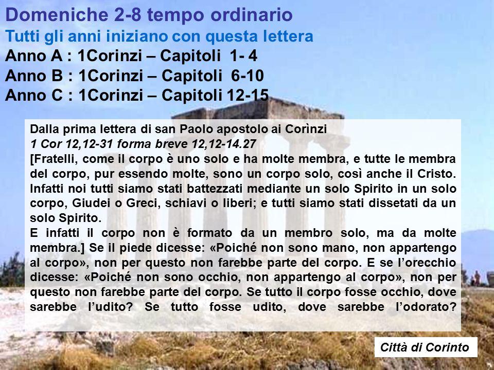 Dalla prima lettera di san Paolo apostolo ai Corìnzi 1 Cor 12,12-31 forma breve 12,12-14.27 [Fratelli, come il corpo è uno solo e ha molte membra, e tutte le membra del corpo, pur essendo molte, sono un corpo solo, così anche il Cristo.