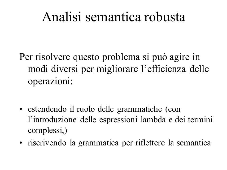 Analisi semantica robusta Per risolvere questo problema si può agire in modi diversi per migliorare l'efficienza delle operazioni: estendendo il ruolo delle grammatiche (con l'introduzione delle espressioni lambda e dei termini complessi,) riscrivendo la grammatica per riflettere la semantica