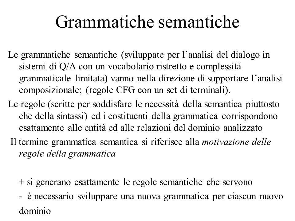 Grammatiche semantiche Le grammatiche semantiche (sviluppate per l'analisi del dialogo in sistemi di Q/A con un vocabolario ristretto e complessità grammaticale limitata) vanno nella direzione di supportare l'analisi composizionale; (regole CFG con un set di terminali).