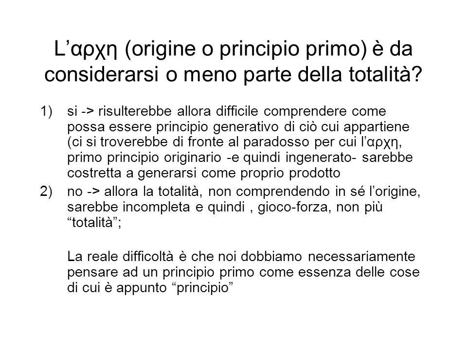 L'αρχη (origine o principio primo) è da considerarsi o meno parte della totalità.