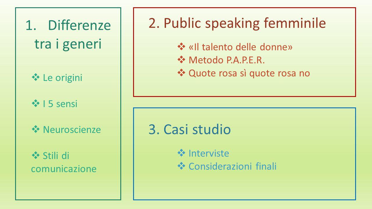 1.Differenze tra i generi  Le origini  I 5 sensi  Neuroscienze  Stili di comunicazione 2.