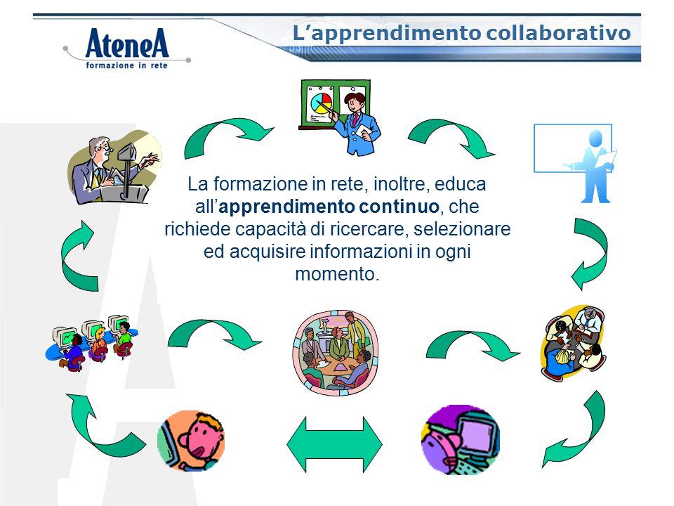 La formazione in rete favorisce la creazione di comunità di apprendimento e l'interazione fra tutti i protagonisti del processo: docenti, esperti, tutor, allievi.