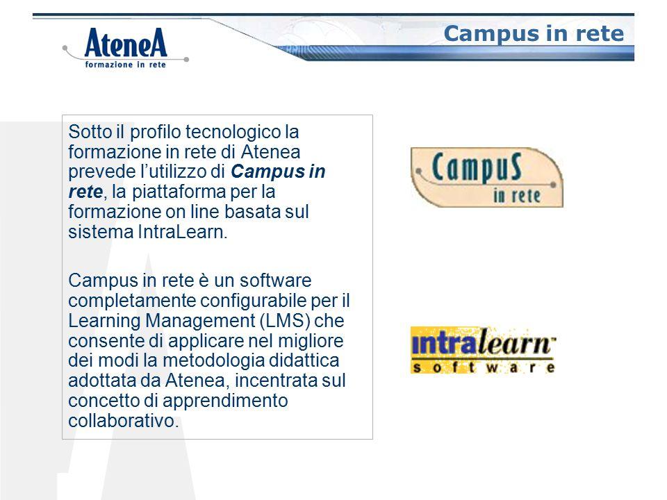 Campus in rete Sotto il profilo tecnologico la formazione in rete di Atenea prevede l'utilizzo di Campus in rete, la piattaforma per la formazione on line basata sul sistema IntraLearn.