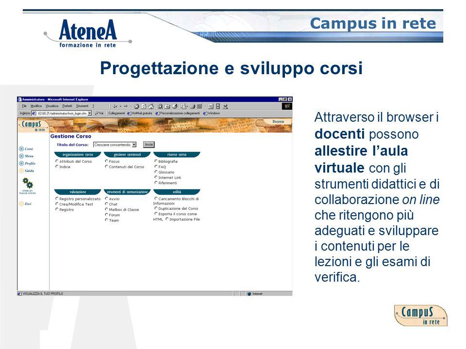 Campus in rete Attraverso il browser i docenti possono allestire l'aula virtuale con gli strumenti didattici e di collaborazione on line che ritengono più adeguati e sviluppare i contenuti per le lezioni e gli esami di verifica.