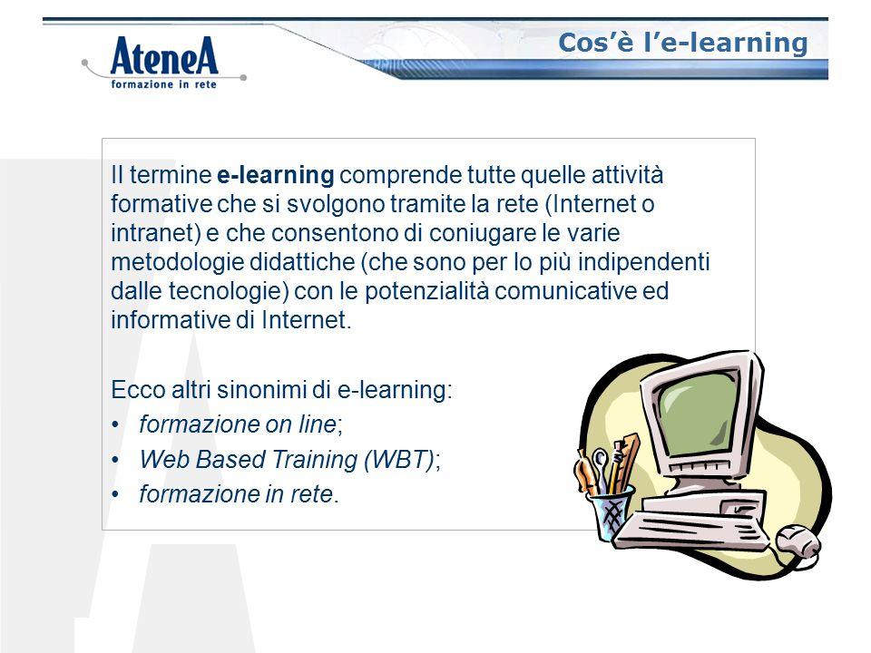 I punti di forza dell'e-learning Formazione in Rete Formazione a Distanza Formazione in Presenza Forte interattività Dipendenza spazio/temporale Comunicazione molti a molti Comunicazione uno a molti Indipendenza spazio/temporale Forte interattività Comunicazione mediata Comunicazione molti a molti Apprendimento collaborativo