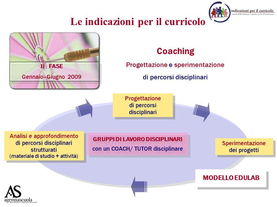 II FASE Gennaio–Giugno 2009 Coaching Progettazione e sperimentazione di percorsi disciplinari GRUPPI DI LAVORO DISCIPLINARI con un COACH/ TUTOR discip