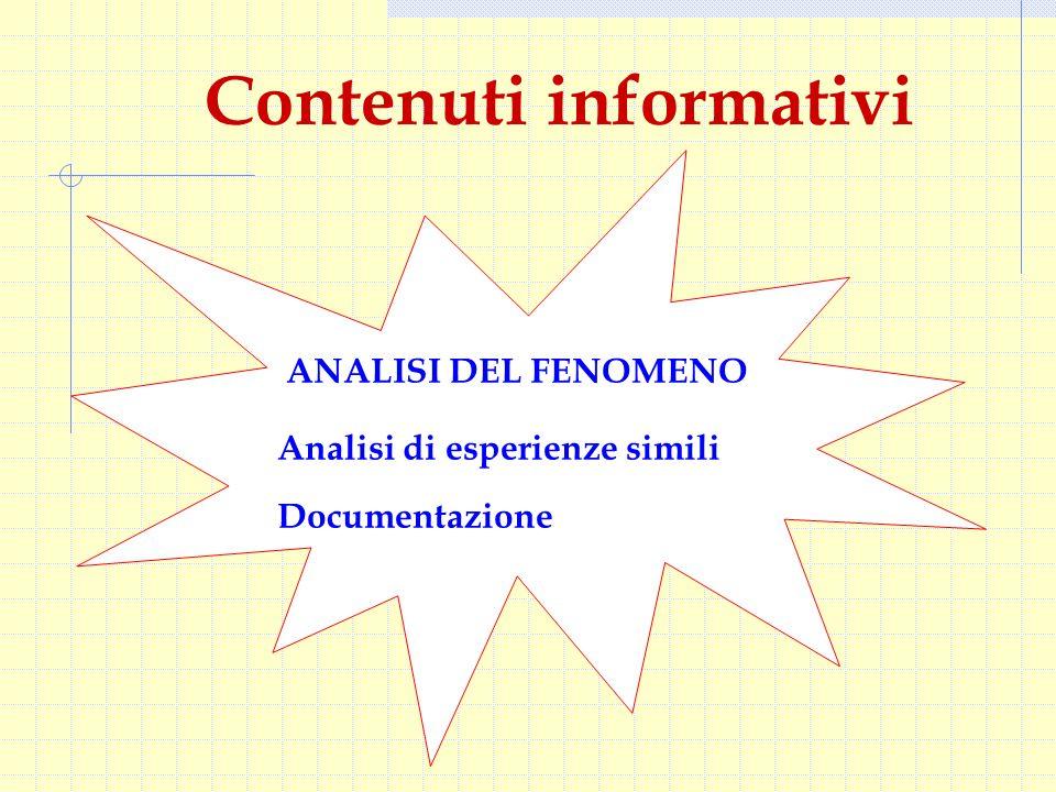 Contenuti informativi ANALISI DEL FENOMENO Analisi di esperienze simili Documentazione