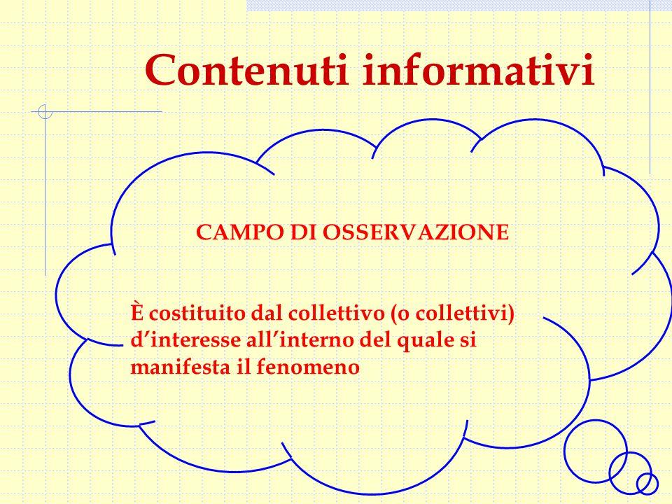 Contenuti informativi CAMPO DI OSSERVAZIONE È costituito dal collettivo (o collettivi) d'interesse all'interno del quale si manifesta il fenomeno