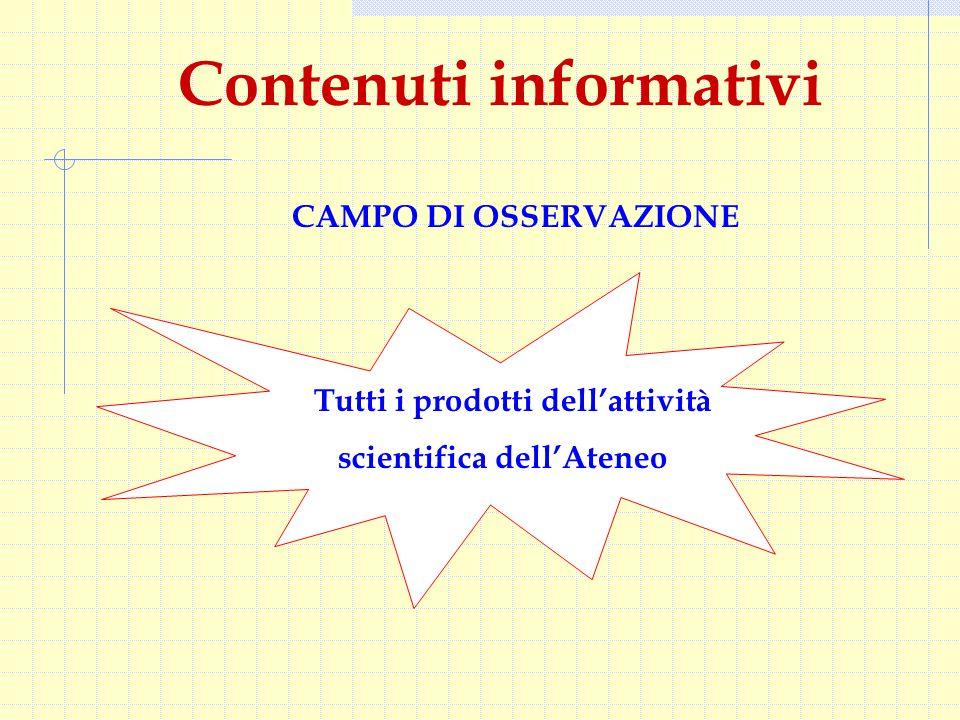 CAMPO DI OSSERVAZIONE Contenuti informativi Tutti i prodotti dell'attività scientifica dell'Ateneo