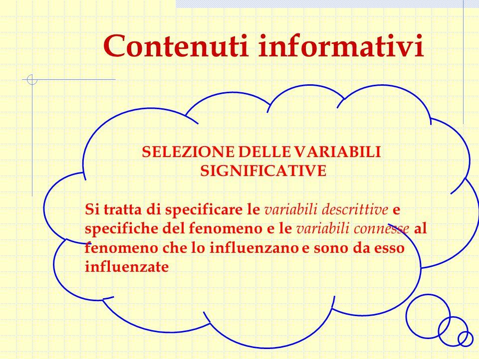 Contenuti informativi SELEZIONE DELLE VARIABILI SIGNIFICATIVE Si tratta di specificare le variabili descrittive e specifiche del fenomeno e le variabili connesse al fenomeno che lo influenzano e sono da esso influenzate