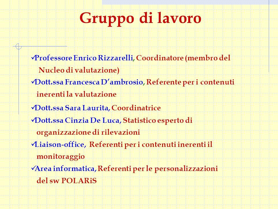 Professore Enrico Rizzarelli, Coordinatore (membro del Nucleo di valutazione) Dott.ssa Francesca D'ambrosio, Referente per i contenuti inerenti la val