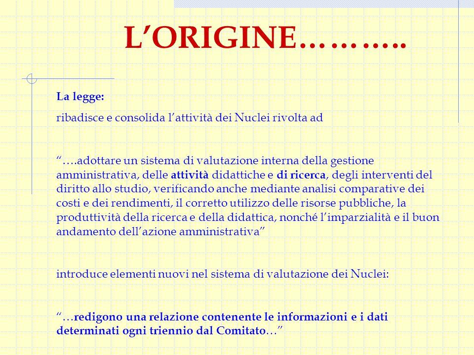 """L'ORIGINE……….. La legge: ribadisce e consolida l'attività dei Nuclei rivolta ad """"….adottare un sistema di valutazione interna della gestione amministr"""