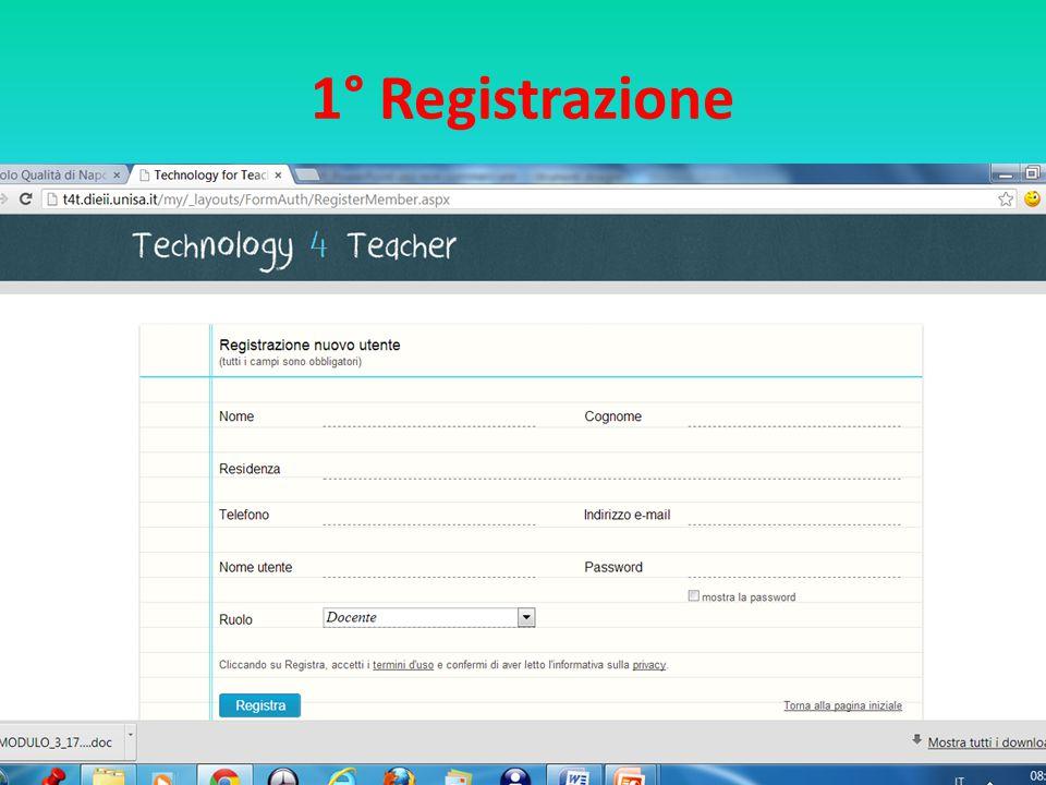 1° Registrazione