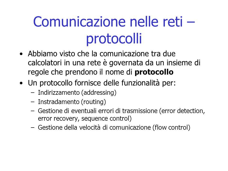 Comunicazione nelle reti – protocolli Abbiamo visto che la comunicazione tra due calcolatori in una rete è governata da un insieme di regole che prend