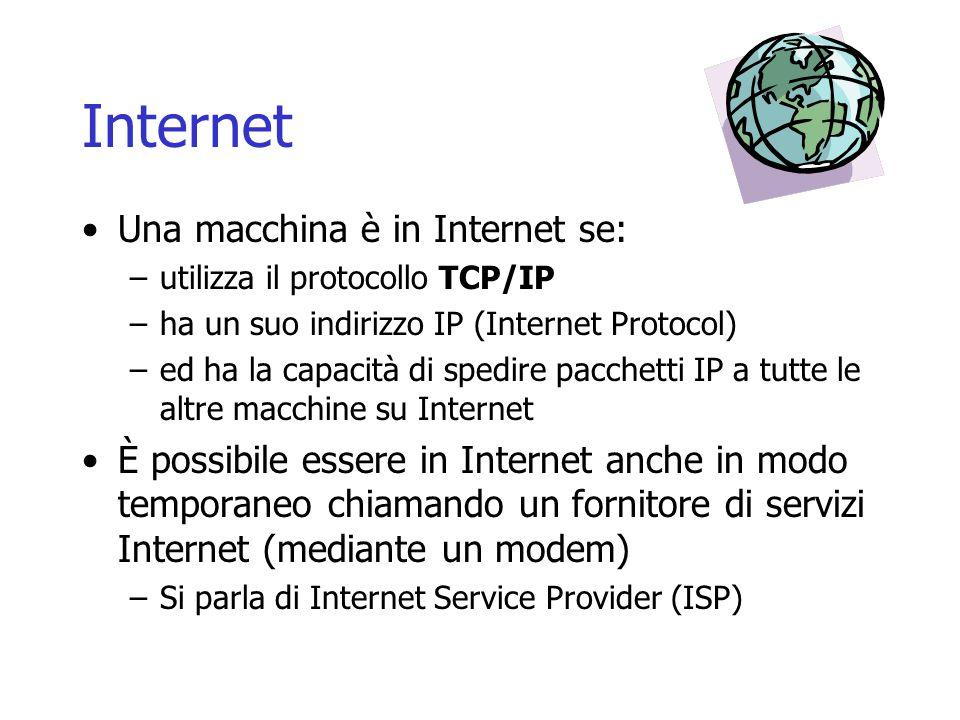 Internet Una macchina è in Internet se: –utilizza il protocollo TCP/IP –ha un suo indirizzo IP (Internet Protocol) –ed ha la capacità di spedire pacch