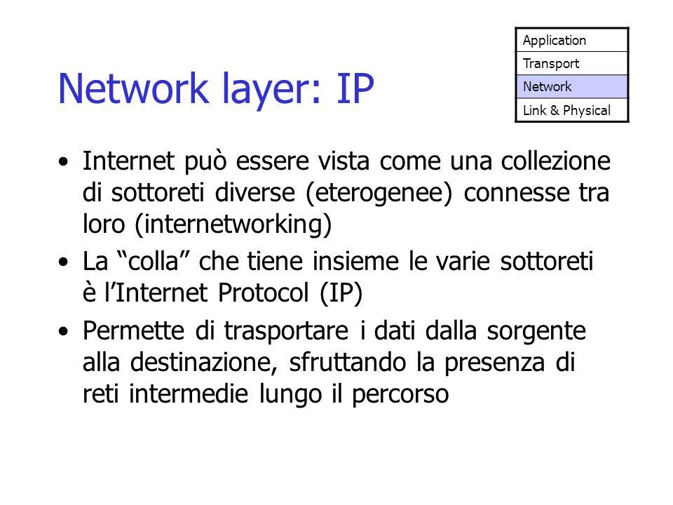 """Network layer: IP Internet può essere vista come una collezione di sottoreti diverse (eterogenee) connesse tra loro (internetworking) La """"colla"""" che t"""