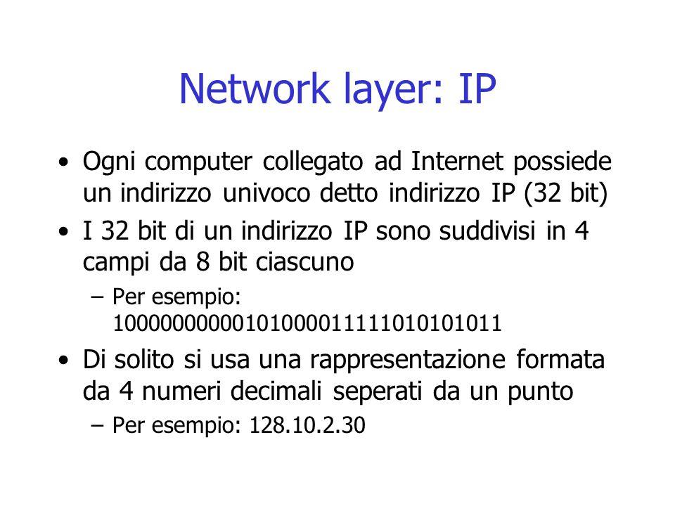 Network layer: IP Ogni computer collegato ad Internet possiede un indirizzo univoco detto indirizzo IP (32 bit) I 32 bit di un indirizzo IP sono suddi