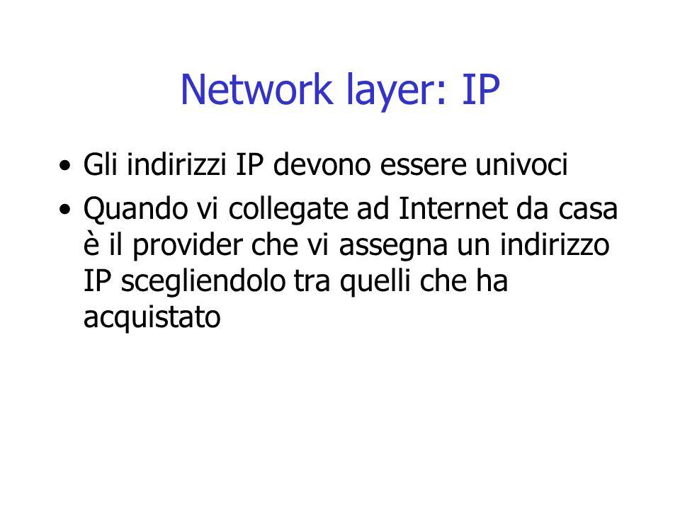 Network layer: IP Gli indirizzi IP devono essere univoci Quando vi collegate ad Internet da casa è il provider che vi assegna un indirizzo IP sceglien