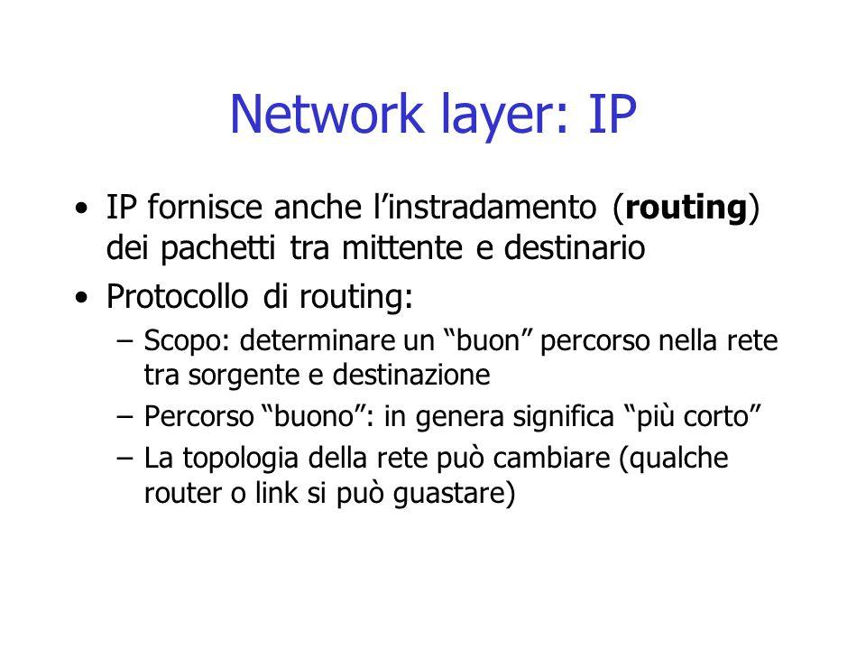"""Network layer: IP IP fornisce anche l'instradamento (routing) dei pachetti tra mittente e destinario Protocollo di routing: –Scopo: determinare un """"bu"""