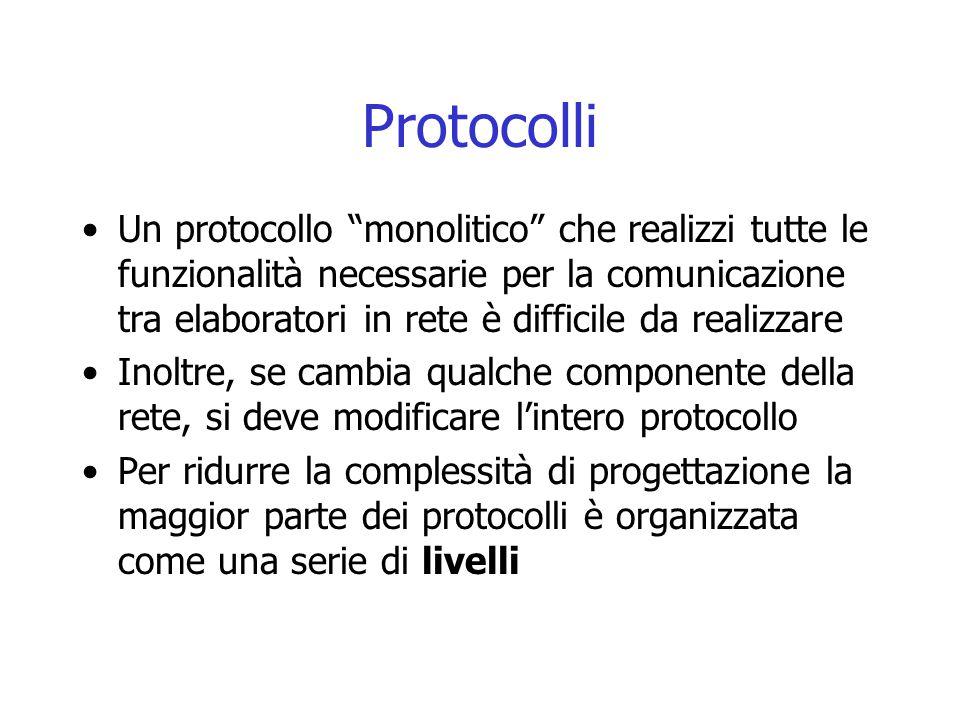 """Protocolli Un protocollo """"monolitico"""" che realizzi tutte le funzionalità necessarie per la comunicazione tra elaboratori in rete è difficile da realiz"""