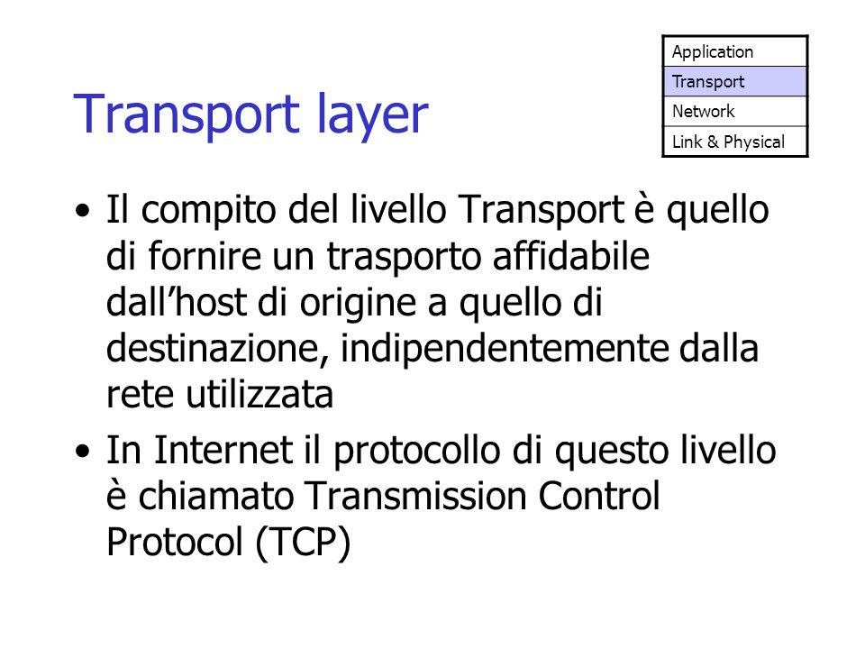 Transport layer Il compito del livello Transport è quello di fornire un trasporto affidabile dall'host di origine a quello di destinazione, indipenden