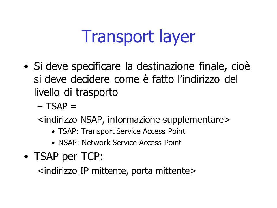 Transport layer Si deve specificare la destinazione finale, cioè si deve decidere come è fatto l'indirizzo del livello di trasporto –TSAP = TSAP: Tran