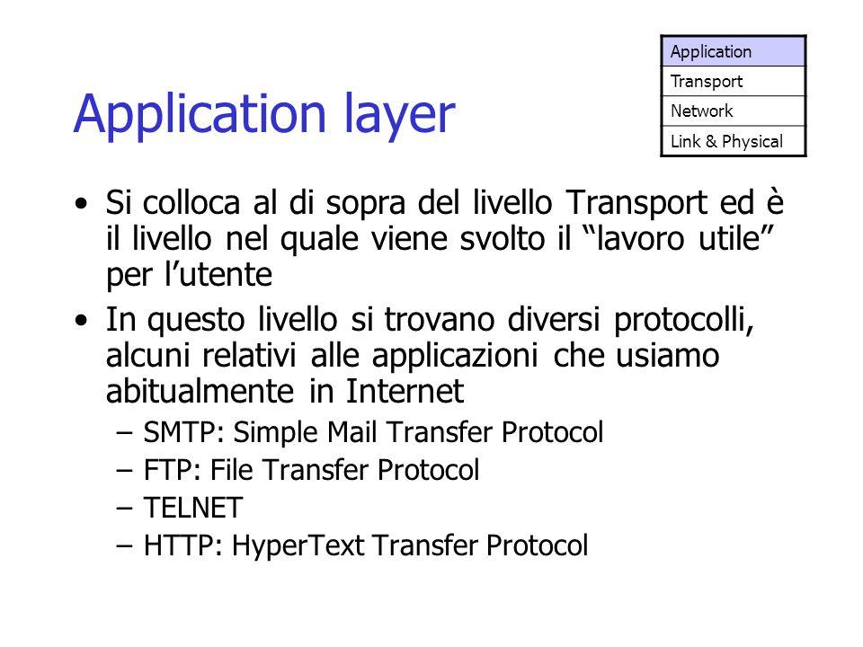 """Application layer Si colloca al di sopra del livello Transport ed è il livello nel quale viene svolto il """"lavoro utile"""" per l'utente In questo livello"""