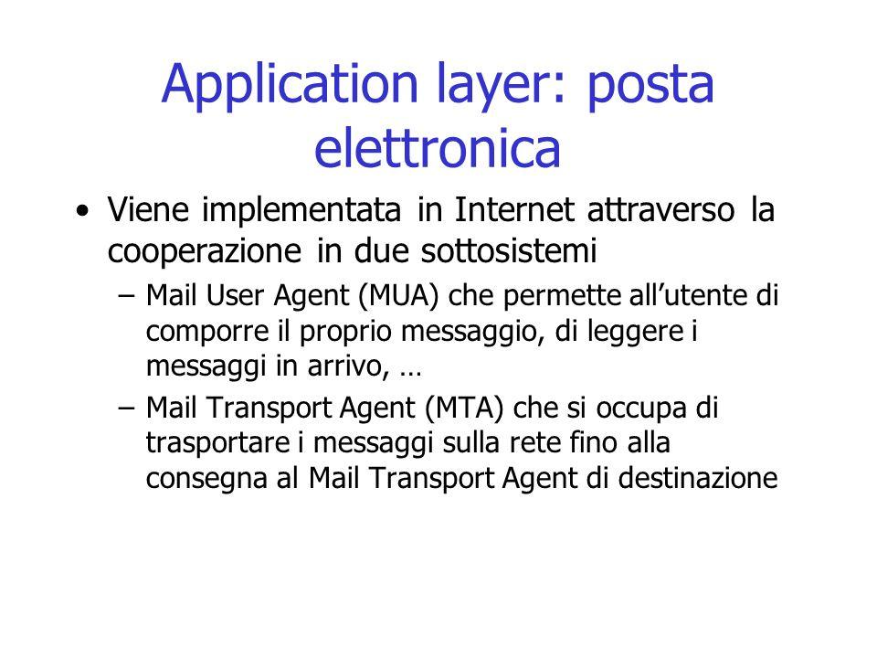 Application layer: posta elettronica Viene implementata in Internet attraverso la cooperazione in due sottosistemi –Mail User Agent (MUA) che permette