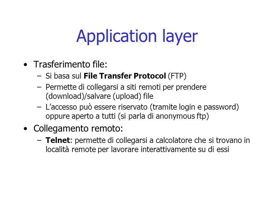 Application layer Trasferimento file: –Si basa sul File Transfer Protocol (FTP) –Permette di collegarsi a siti remoti per prendere (download)/salvare
