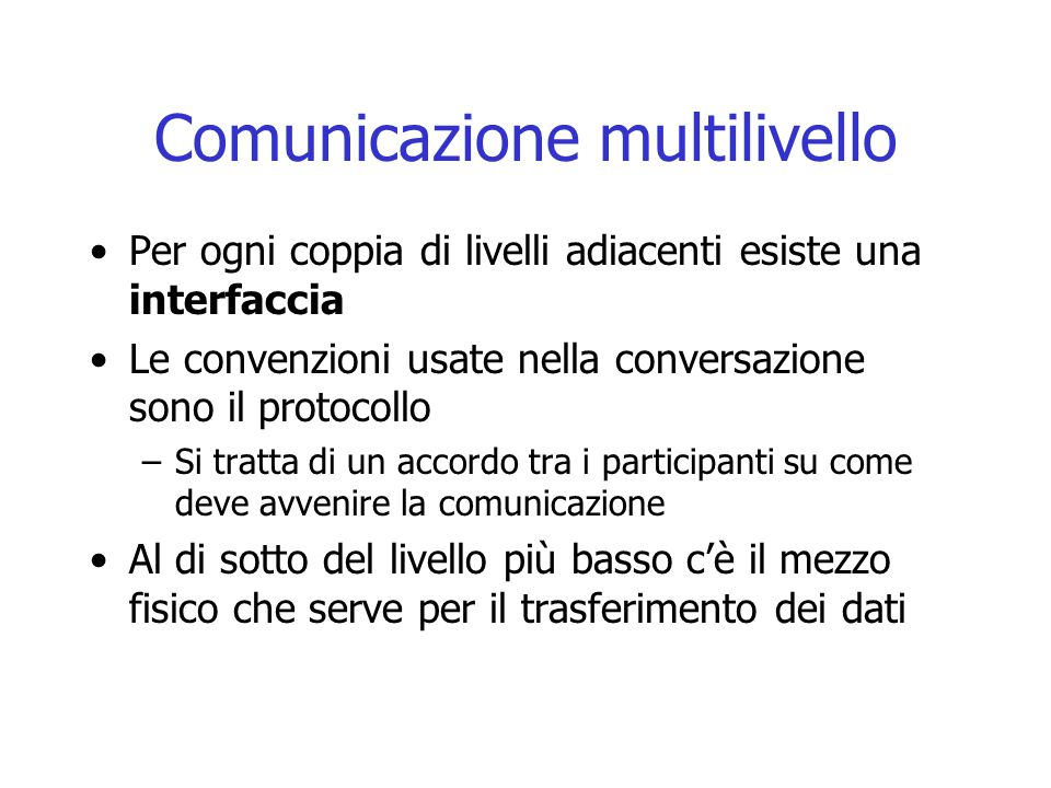Comunicazione multilivello Per ogni coppia di livelli adiacenti esiste una interfaccia Le convenzioni usate nella conversazione sono il protocollo –Si