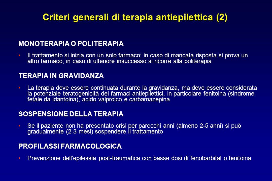 MONOTERAPIA O POLITERAPIA Il trattamento si inizia con un solo farmaco; in caso di mancata risposta si prova un altro farmaco; in caso di ulteriore in