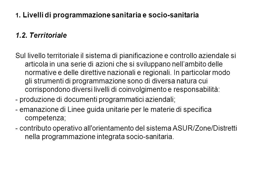 1. Livelli di programmazione sanitaria e socio-sanitaria 1.2.