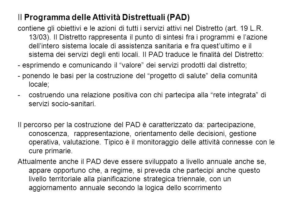 Il Programma delle Attività Distrettuali (PAD) contiene gli obiettivi e le azioni di tutti i servizi attivi nel Distretto (art.