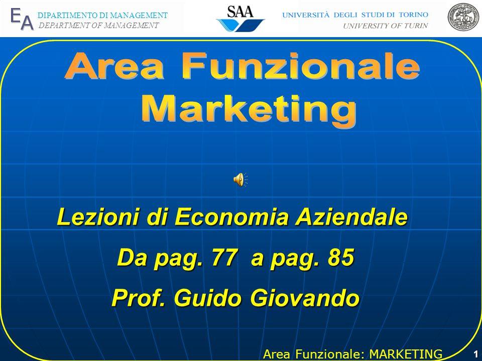 Area Funzionale: MARKETING DIPARTIMENTO DI MANAGEMENT DEPARTMENT OF MANAGEMENT 1 Lezioni di Economia Aziendale Da pag.