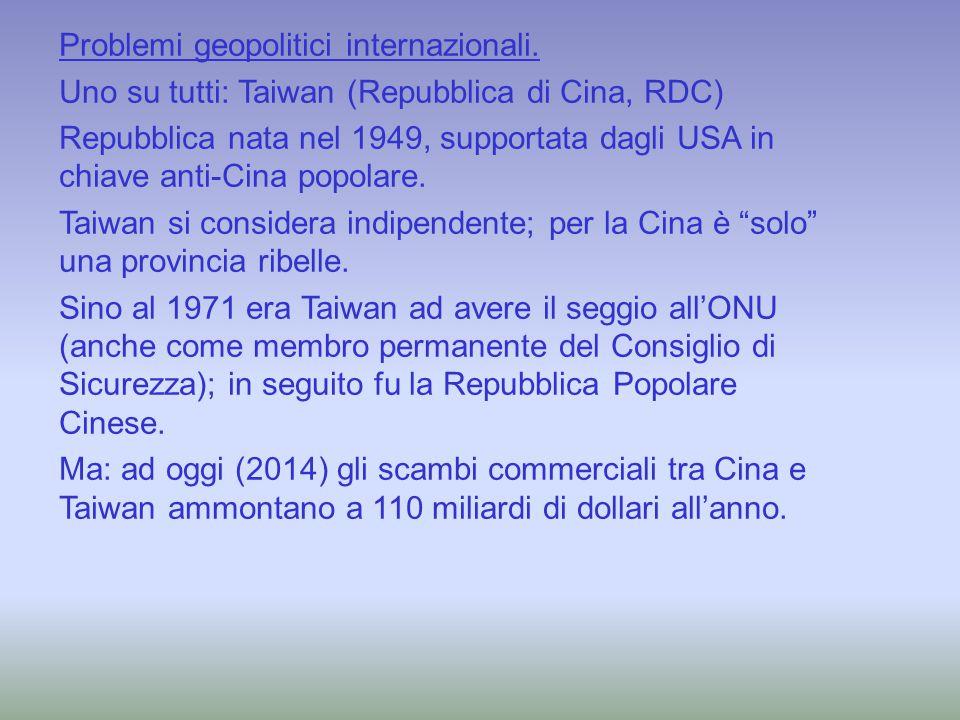 Problemi geopolitici internazionali. Uno su tutti: Taiwan (Repubblica di Cina, RDC) Repubblica nata nel 1949, supportata dagli USA in chiave anti-Cina